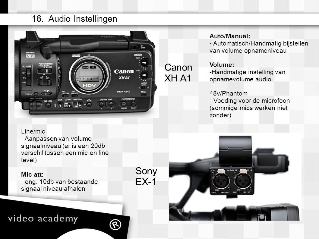Auto/Manual: - Automatisch/Handmatig bijstellen van volume opnameniveau Volume: - Handmatige instelling van opnamevolume audio 48v/Phantom - Voeding voor de microfoon (sommige mics werken niet zonder) 16.