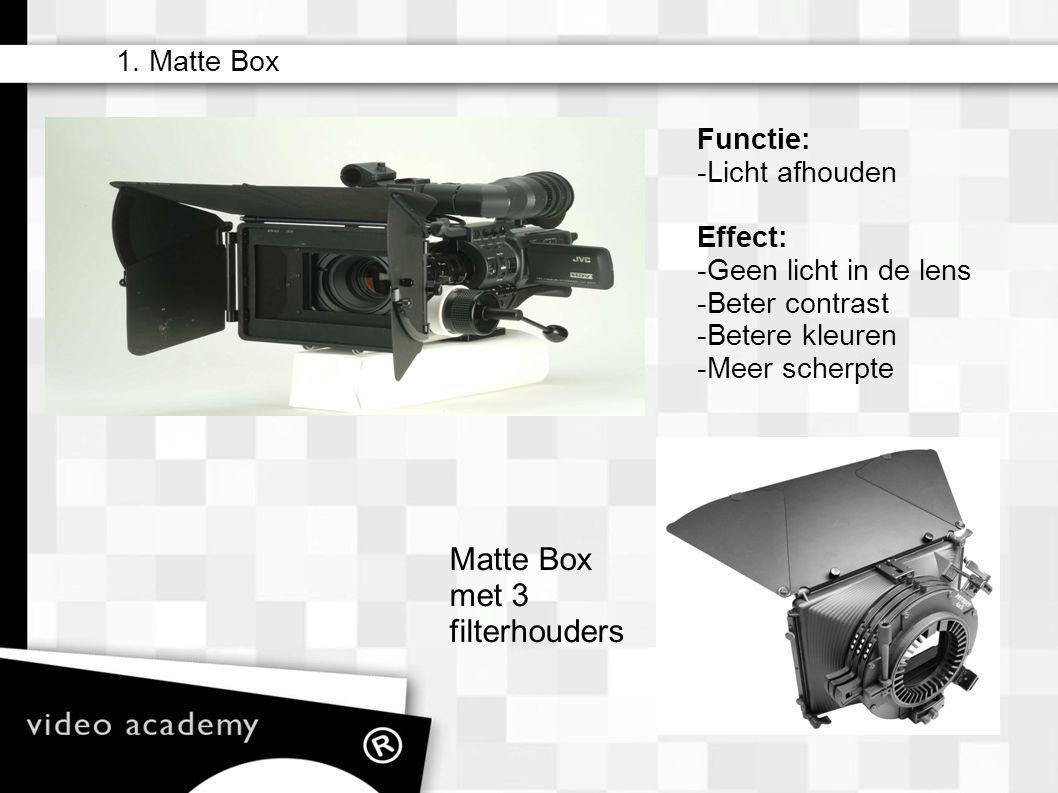 1. Matte Box – matte box – camera filters (ND) – lens (zoom) – iris – sluitertijden (ook i.c.m. Hertzen) – sensoren/film – gain/iso – zebra – wit bala