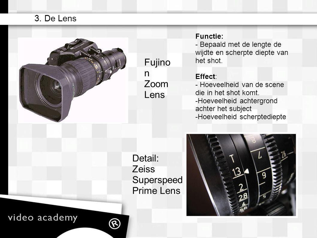 – matte box – camera filters (ND) – lens (zoom) – iris – sluitertijden (ook i.c.m. Hertzen) – sensoren/film – gain/iso – zebra – wit balans – manual v