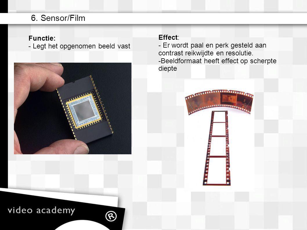 6. Sensor/Film Effect: - Er wordt paal en perk gesteld aan contrast reikwijdte en resolutie. - Beeldformaat heeft effect op scherpte diepte Functie: -