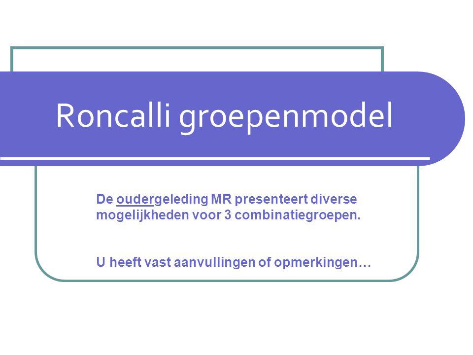 Roncalli groepenmodel De oudergeleding MR presenteert diverse mogelijkheden voor 3 combinatiegroepen.