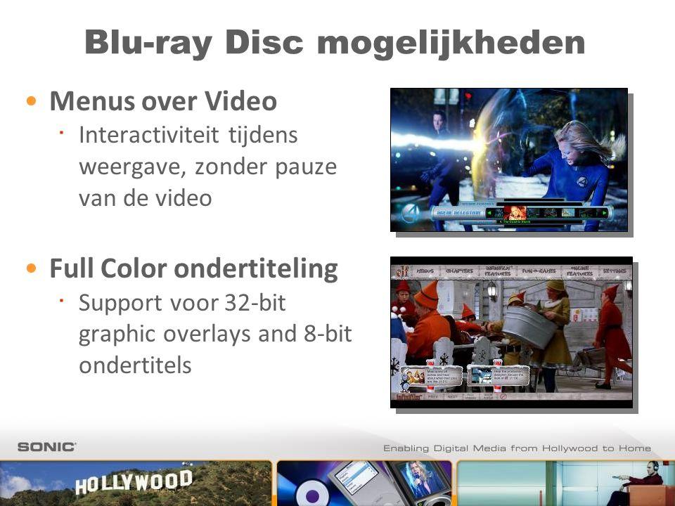 Blu-ray Disc mogelijkheden Menus over Video ∙ Interactiviteit tijdens weergave, zonder pauze van de video Full Color ondertiteling ∙ Support voor 32-b