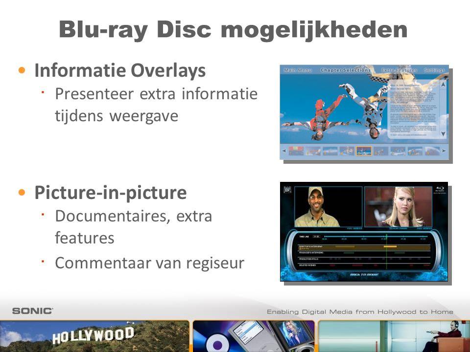 Blu-ray Disc mogelijkheden Informatie Overlays ∙ Presenteer extra informatie tijdens weergave Picture-in-picture ∙ Documentaires, extra features ∙ Commentaar van regiseur