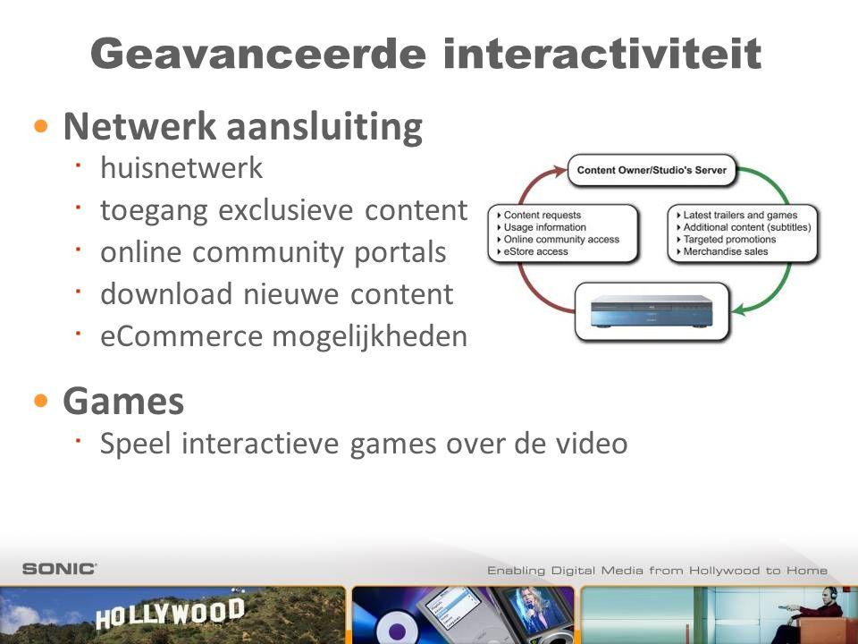 Geavanceerde interactiviteit Netwerk aansluiting ∙ huisnetwerk ∙ toegang exclusieve content ∙ online community portals ∙ download nieuwe content ∙ eCo