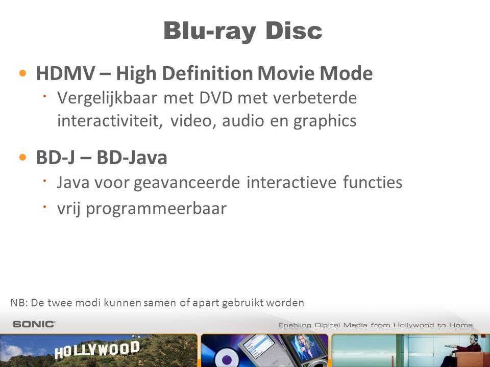 Blu-ray Disc HDMV – High Definition Movie Mode ∙ Vergelijkbaar met DVD met verbeterde interactiviteit, video, audio en graphics BD-J – BD-Java ∙ Java voor geavanceerde interactieve functies ∙ vrij programmeerbaar NB: De twee modi kunnen samen of apart gebruikt worden