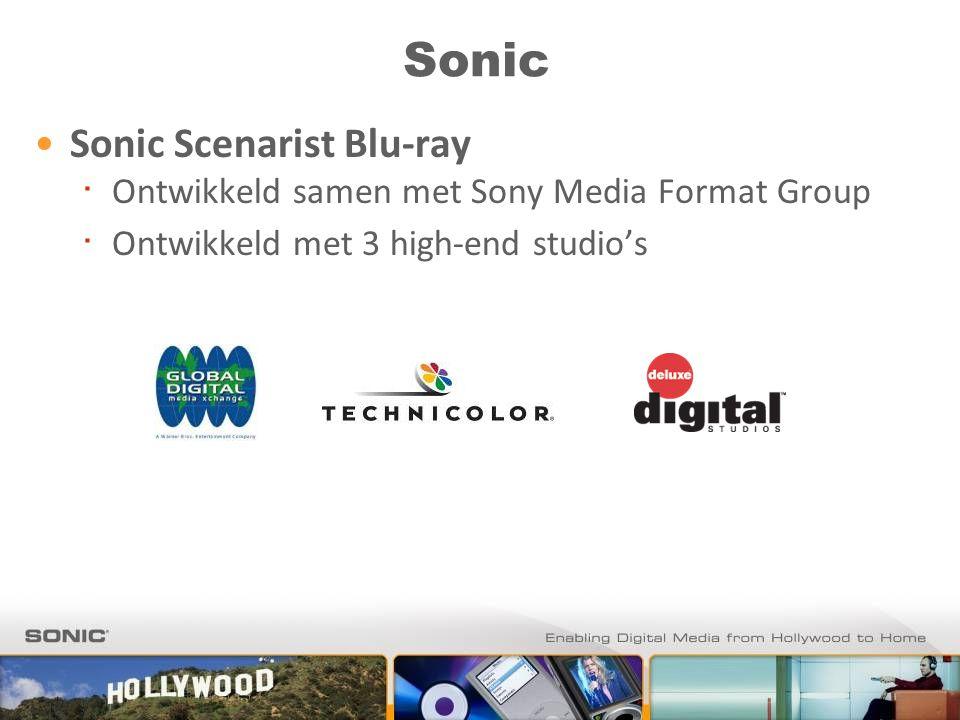 Sonic Sonic Scenarist Blu-ray ∙ Ontwikkeld samen met Sony Media Format Group ∙ Ontwikkeld met 3 high-end studio's