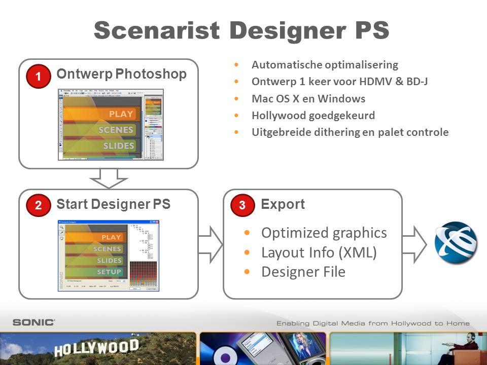 Scenarist Designer PS Ontwerp Photoshop 1 Start Designer PS 2 Automatische optimalisering Ontwerp 1 keer voor HDMV & BD-J Mac OS X en Windows Hollywoo