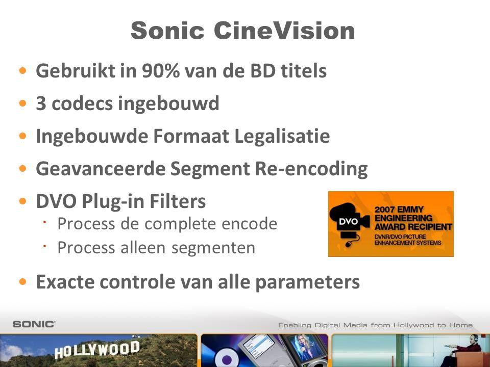 Sonic CineVision Gebruikt in 90% van de BD titels 3 codecs ingebouwd Ingebouwde Formaat Legalisatie Geavanceerde Segment Re-encoding DVO Plug-in Filters ∙ Process de complete encode ∙ Process alleen segmenten Exacte controle van alle parameters
