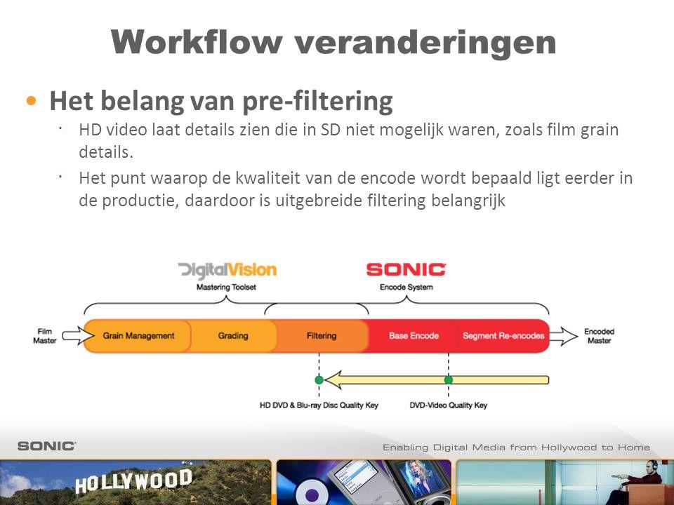Workflow veranderingen Het belang van pre-filtering ∙ HD video laat details zien die in SD niet mogelijk waren, zoals film grain details. ∙ Het punt w