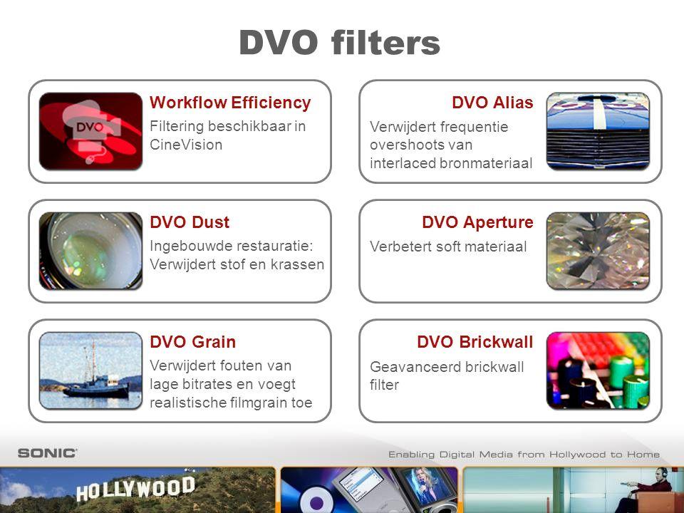 DVO filters DVO Dust Ingebouwde restauratie: Verwijdert stof en krassen Workflow Efficiency Filtering beschikbaar in CineVision DVO Grain Verwijdert f