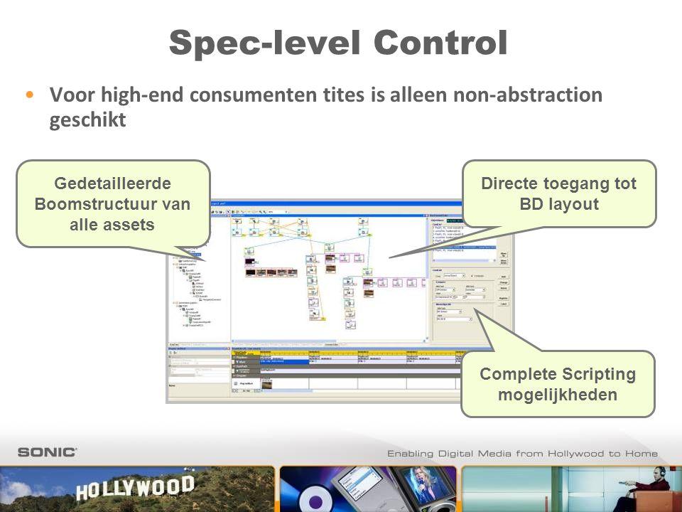 Spec-level Control Directe toegang tot BD layout Gedetailleerde Boomstructuur van alle assets Complete Scripting mogelijkheden Voor high-end consumenten tites is alleen non-abstraction geschikt