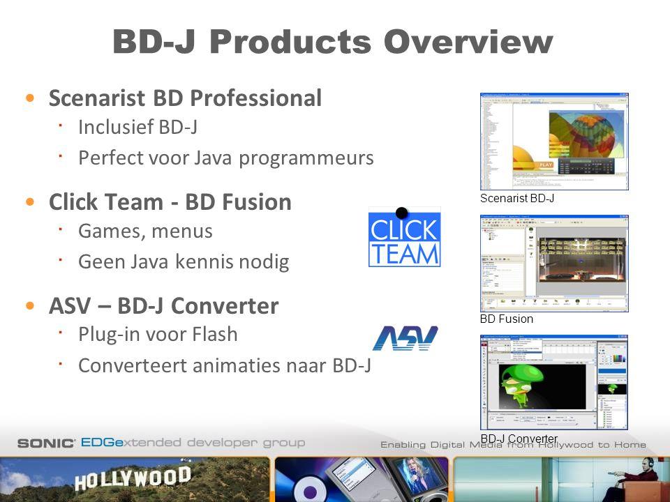 BD-J Products Overview Scenarist BD Professional ∙ Inclusief BD-J ∙ Perfect voor Java programmeurs Click Team - BD Fusion ∙ Games, menus ∙ Geen Java k