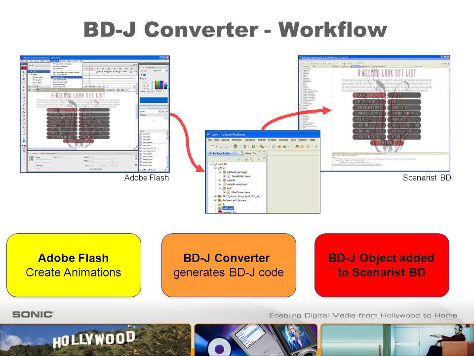BD-J Converter - Workflow BD-J Converter generates BD-J code BD-J Converter generates BD-J code BD-J Object added to Scenarist BD BD-J Object added to
