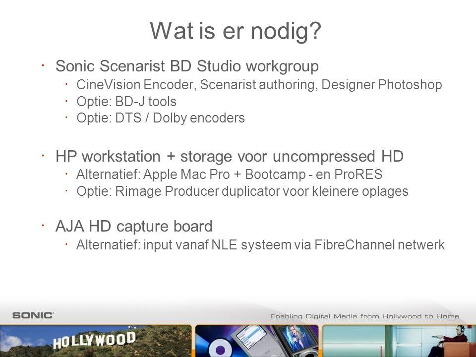 Wat is er nodig? ∙ Sonic Scenarist BD Studio workgroup ∙ CineVision Encoder, Scenarist authoring, Designer Photoshop ∙ Optie: BD-J tools ∙ Optie: DTS