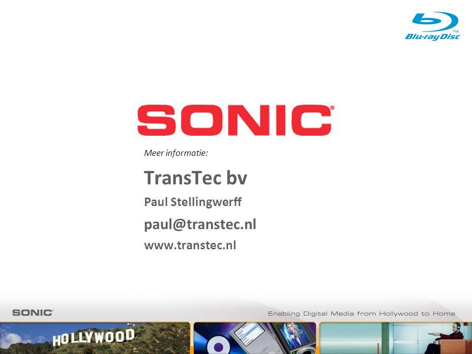 Meer informatie: TransTec bv Paul Stellingwerff paul@transtec.nl www.transtec.nl