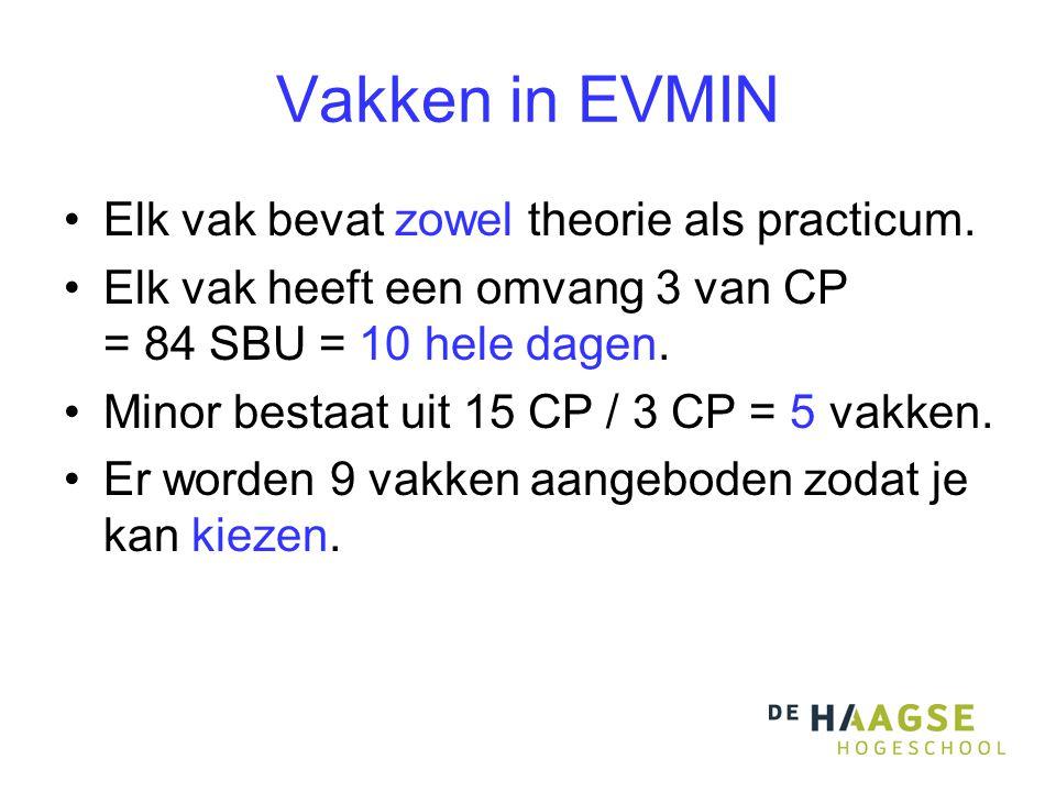 Vakken in EVMIN Elk vak bevat zowel theorie als practicum.