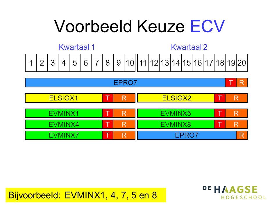 Voorbeeld Keuze ECV 1324576891110121315141617191820 Kwartaal 1Kwartaal 2 ELSIGX1 ELSIGX2 TTRR EPRO7TR R EVMINX1T EPRO7 EVMINX4T R EVMINX7T R R EVMINX5T R EVMINX8T Bijvoorbeeld: EVMINX1, 4, 7, 5 en 8 R