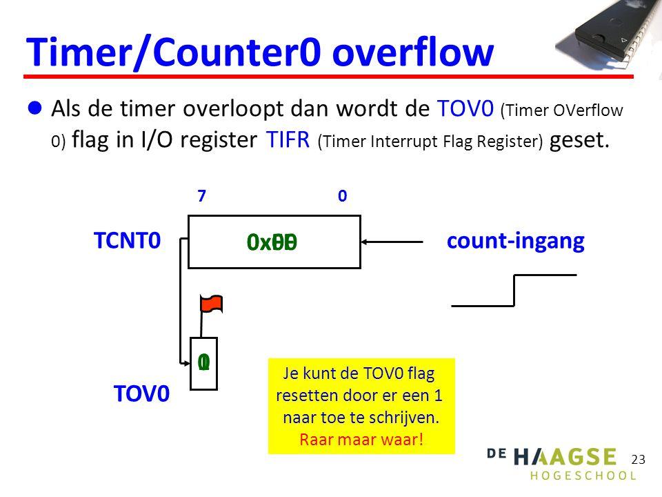23 Als de timer overloopt dan wordt de TOV0 (Timer OVerflow 0) flag in I/O register TIFR (Timer Interrupt Flag Register) geset. Timer/Counter0 overflo