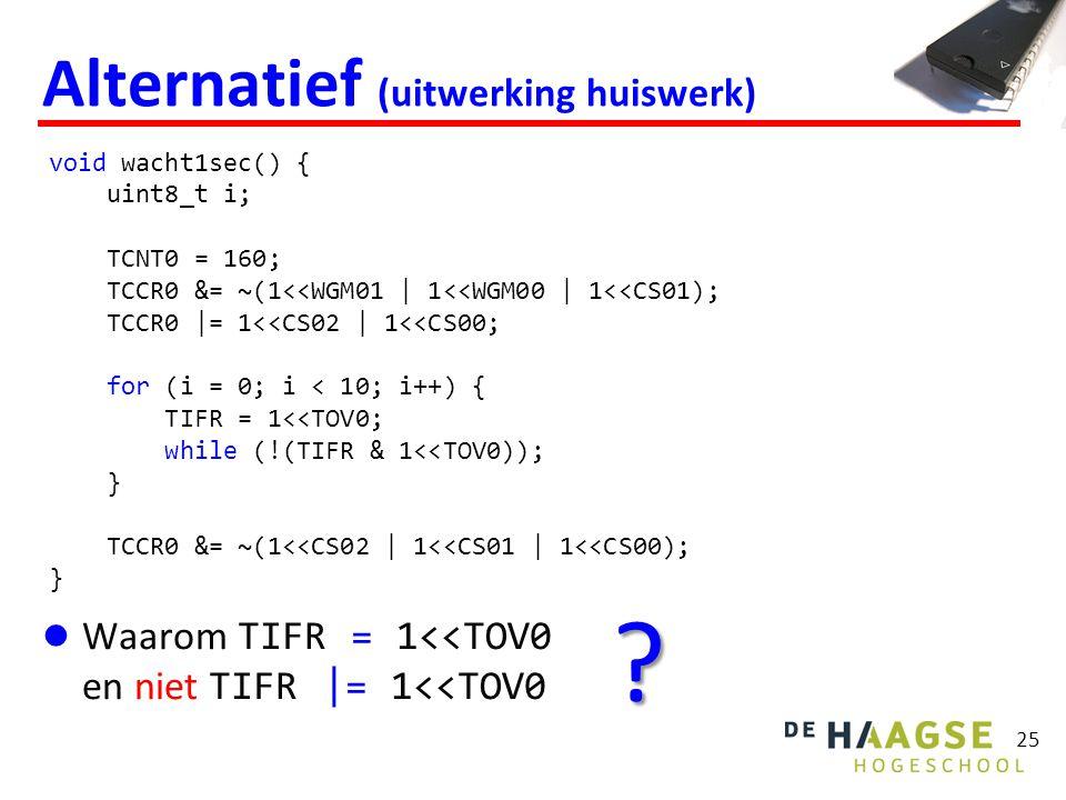 25 Alternatief (uitwerking huiswerk) Waarom TIFR = 1<<TOV0 en niet TIFR |= 1<<TOV0 void wacht1sec() { uint8_t i; TCNT0 = 160; TCCR0 &= ~(1<<WGM01 | 1<