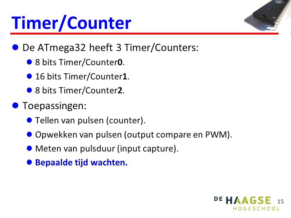 15 Timer/Counter De ATmega32 heeft 3 Timer/Counters: 8 bits Timer/Counter0. 16 bits Timer/Counter1. 8 bits Timer/Counter2. Toepassingen: Tellen van pu