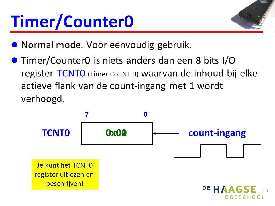 16 Timer/Counter0 Normal mode. Voor eenvoudig gebruik. Timer/Counter0 is niets anders dan een 8 bits I/O register TCNT0 (Timer CouNT 0) waarvan de inh