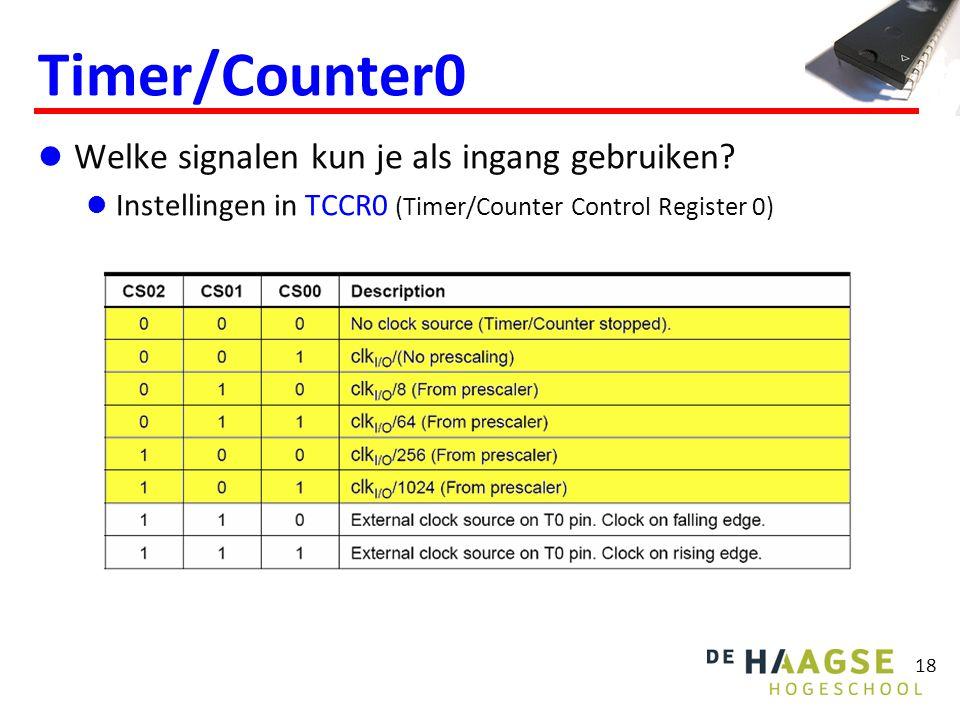 18 Timer/Counter0 Welke signalen kun je als ingang gebruiken? Instellingen in TCCR0 (Timer/Counter Control Register 0)