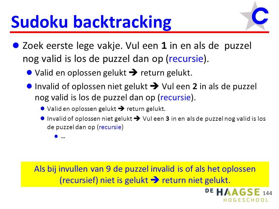 144 Sudoku backtracking Zoek eerste lege vakje.
