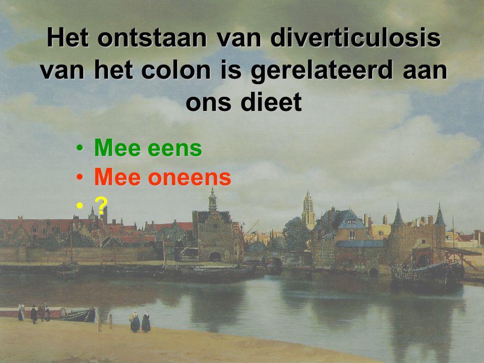 Het ontstaan van diverticulosis van het colon is gerelateerd aan ons dieet Mee eensMee eens Mee oneensMee oneens ?