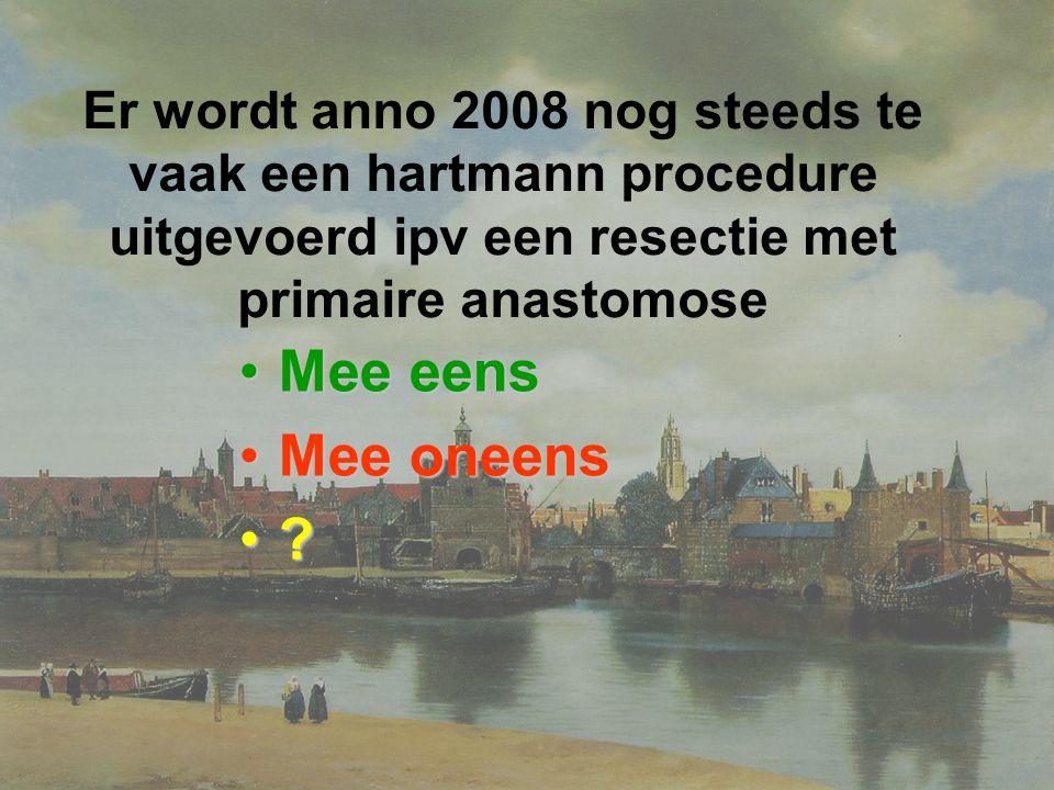 Er wordt anno 2008 nog steeds te vaak een hartmann procedure uitgevoerd ipv een resectie met primaire anastomose Mee eensMee eens Mee oneensMee oneens