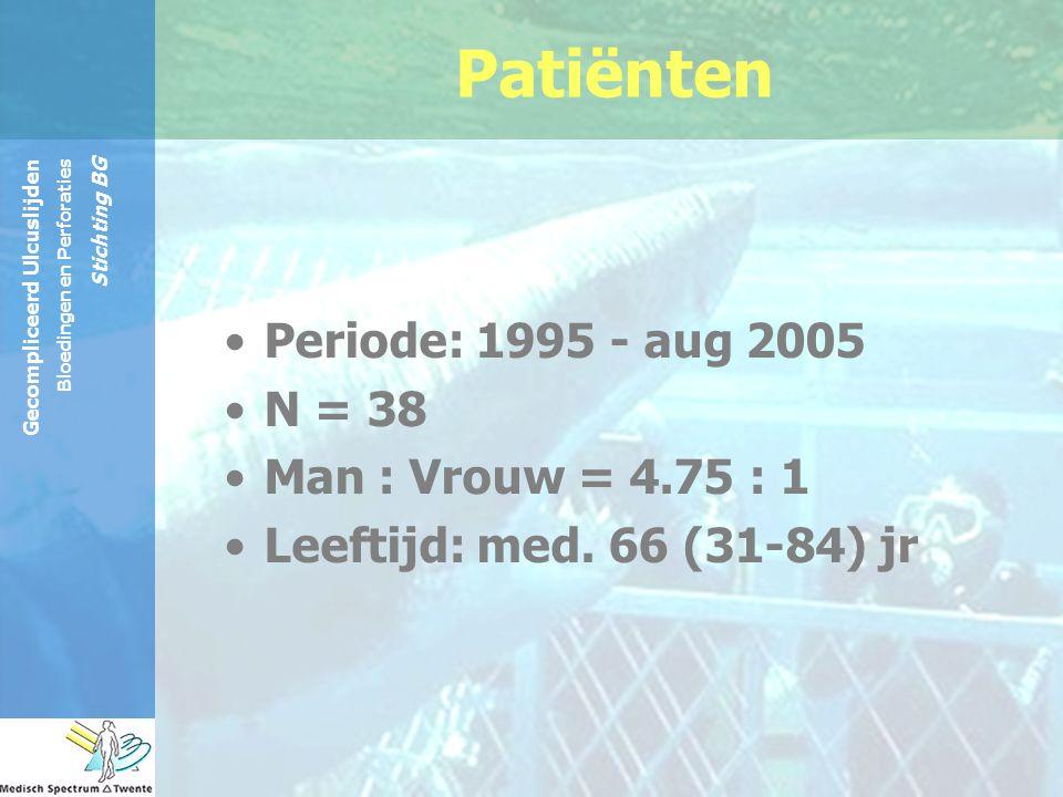 Gecompliceerd Ulcuslijden Bloedingen en Perforaties Stichting BG Post-op ICU opname: 84% Post-operatief beloop