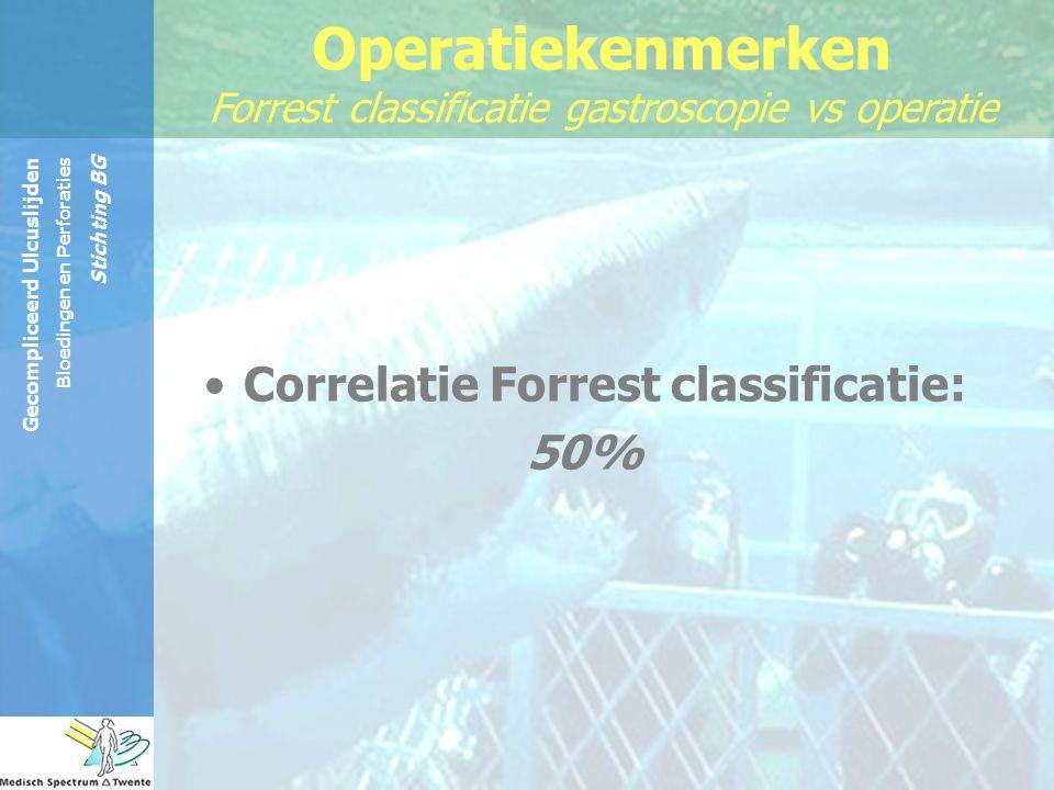 Gecompliceerd Ulcuslijden Bloedingen en Perforaties Stichting BG Operatiekenmerken Forrest classificatie gastroscopie vs operatie Correlatie Forrest c