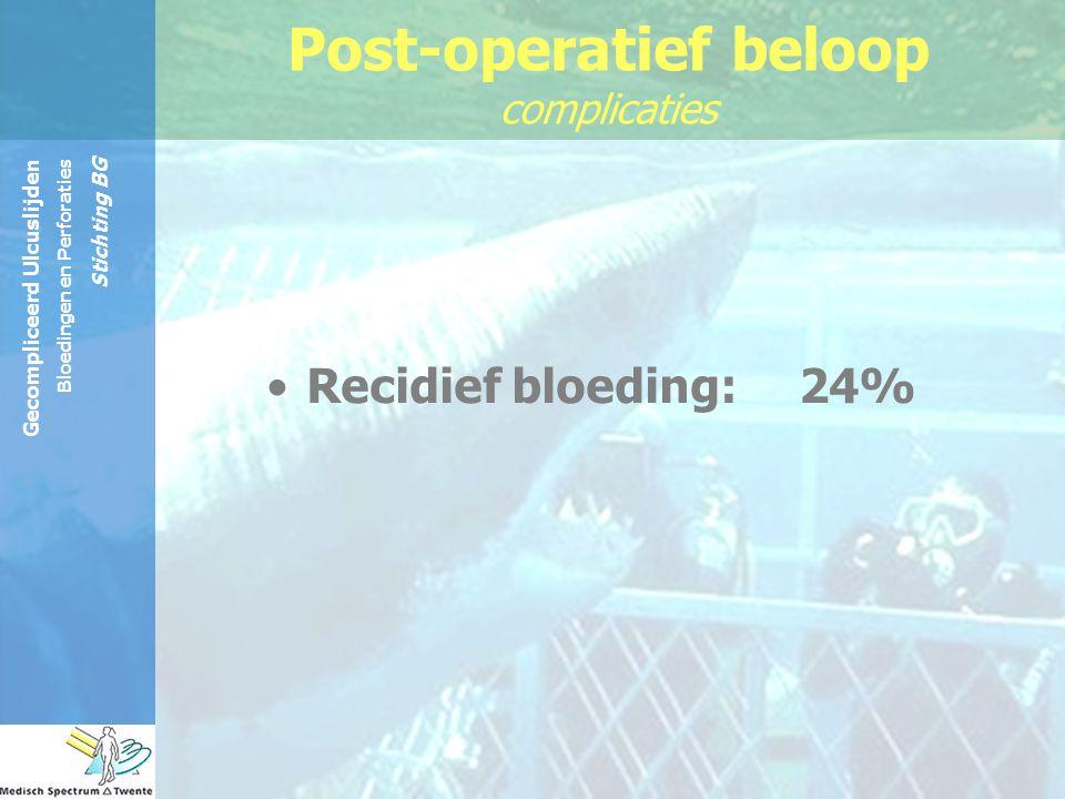 Gecompliceerd Ulcuslijden Bloedingen en Perforaties Stichting BG Recidief bloeding: 24% Post-operatief beloop complicaties