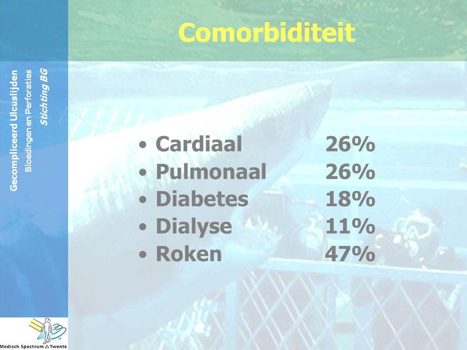 Gecompliceerd Ulcuslijden Bloedingen en Perforaties Stichting BG Cardiaal 26% Pulmonaal 26% Diabetes 18% Dialyse 11% Roken 47% Comorbiditeit