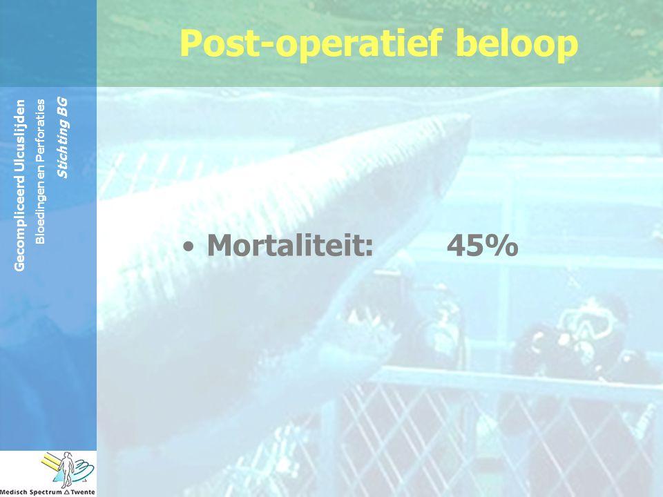 Gecompliceerd Ulcuslijden Bloedingen en Perforaties Stichting BG Post-operatief beloop Mortaliteit: 45%