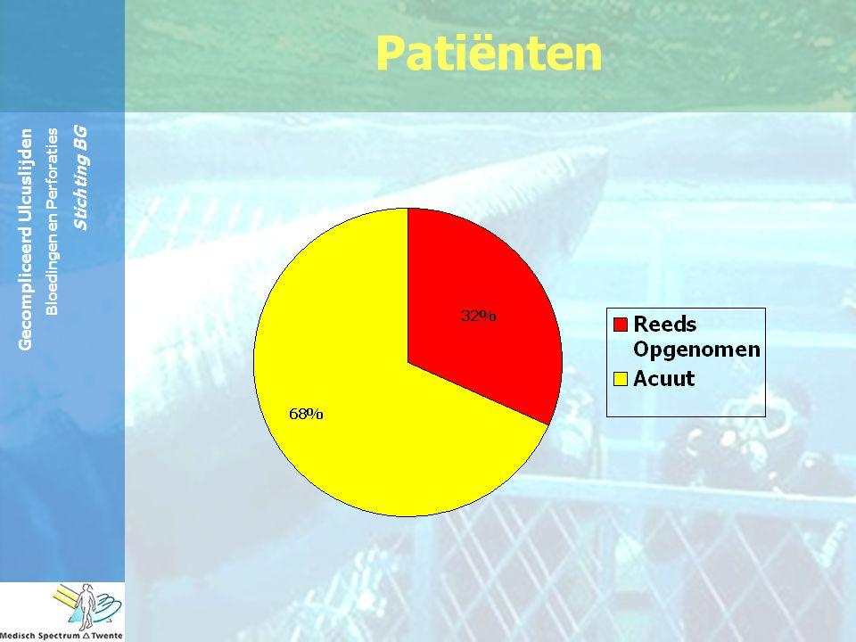 Gecompliceerd Ulcuslijden Bloedingen en Perforaties Stichting BG Ja – (3% n=1) Methode: –poging tot selectieve angiografie niet gelukt.