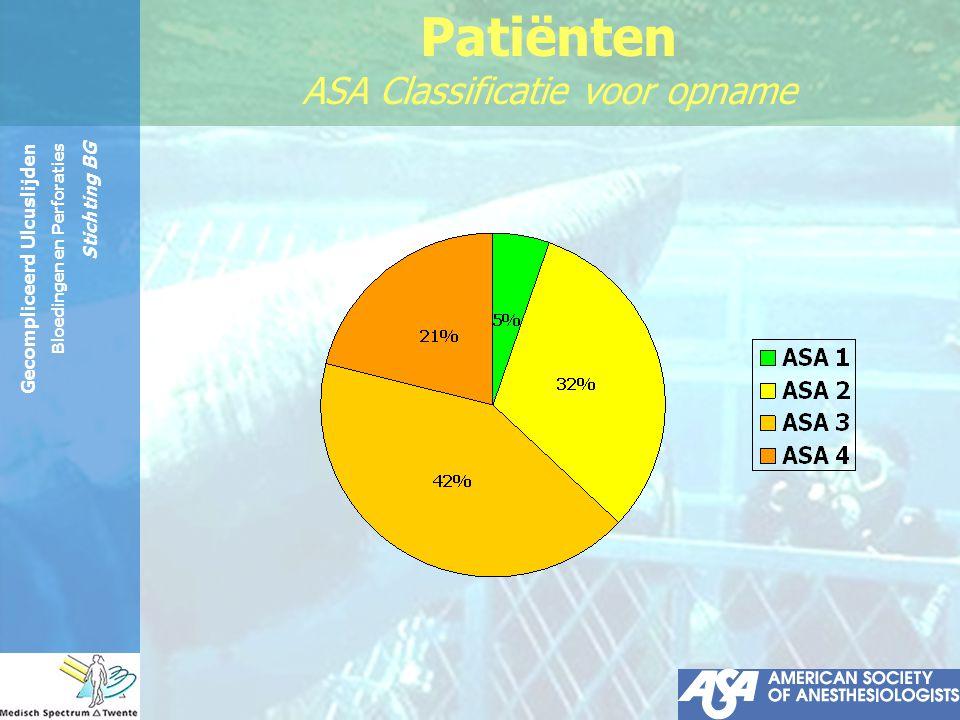 Gecompliceerd Ulcuslijden Bloedingen en Perforaties Stichting BG Patiënten Medicatie: NSAID's 53% Corticosteroïden 11% Orale anticoagulantia 13% H2-antagonisten 8% PPI's8%