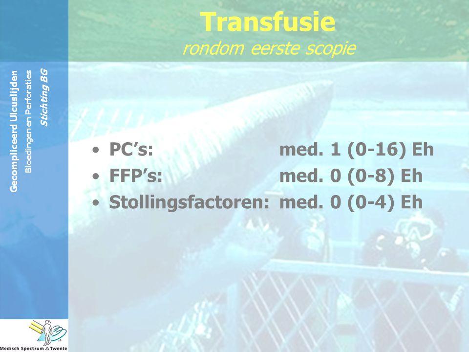 Gecompliceerd Ulcuslijden Bloedingen en Perforaties Stichting BG PC's:med. 1 (0-16) Eh FFP's:med. 0 (0-8) Eh Stollingsfactoren:med. 0 (0-4) Eh Transfu