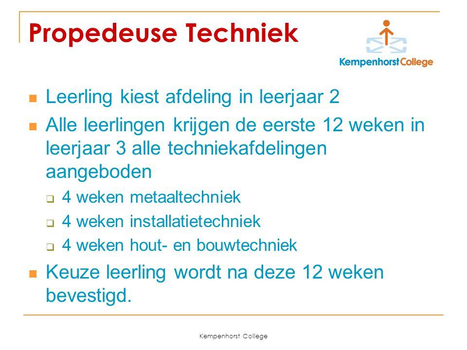 Kempenhorst College Propedeuse Techniek Leerling kiest afdeling in leerjaar 2 Alle leerlingen krijgen de eerste 12 weken in leerjaar 3 alle techniekaf