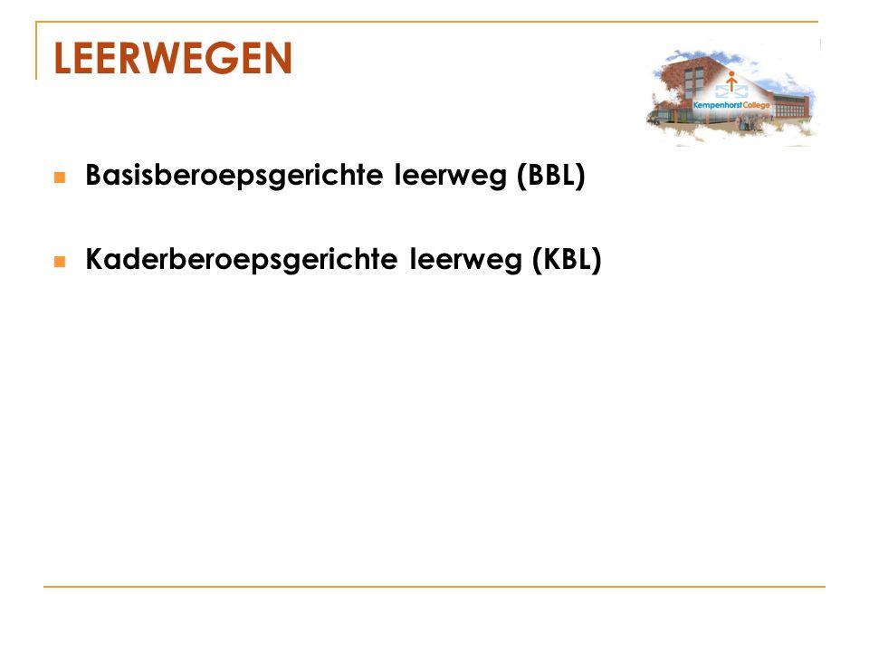 LEERWEGEN Basisberoepsgerichte leerweg (BBL) Kaderberoepsgerichte leerweg (KBL)