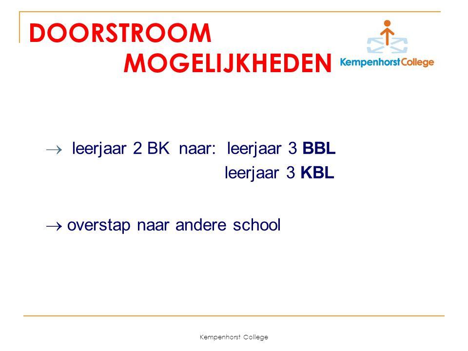 Kempenhorst College DOORSTROOM MOGELIJKHEDEN  leerjaar 2 BK naar: leerjaar 3 BBL leerjaar 3 KBL  overstap naar andere school