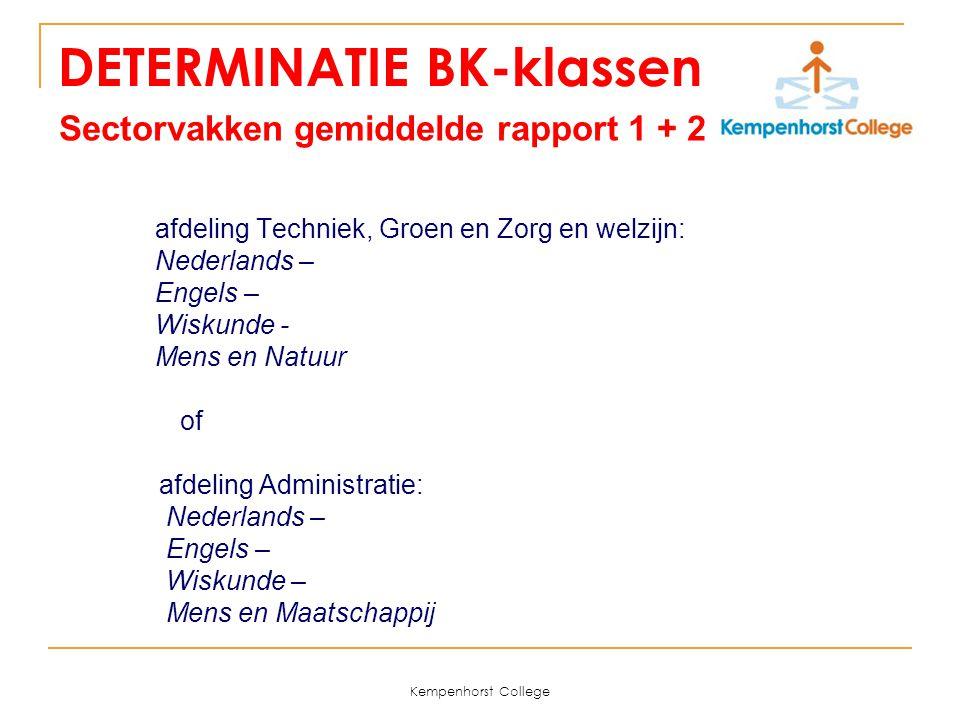 Kempenhorst College DETERMINATIE BK-klassen Sectorvakken gemiddelde rapport 1 + 2 afdeling Techniek, Groen en Zorg en welzijn: Nederlands – Engels – W