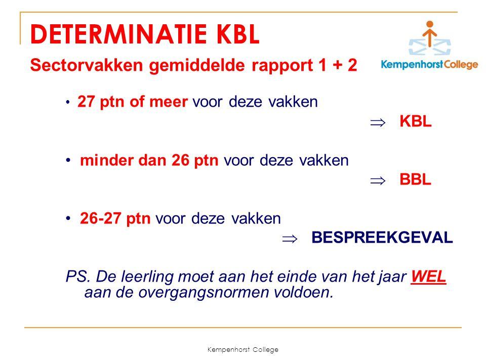 Kempenhorst College DETERMINATIE KBL Sectorvakken gemiddelde rapport 1 + 2 27 ptn of meer voor deze vakken  KBL minder dan 26 ptn voor deze vakken 