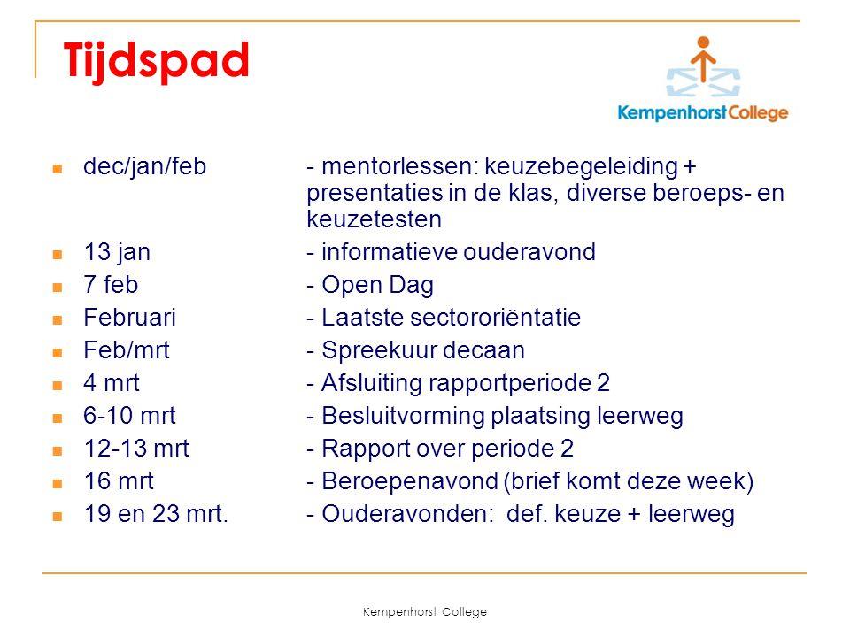 Kempenhorst College Tijdspad dec/jan/feb - mentorlessen: keuzebegeleiding + presentaties in de klas, diverse beroeps- en keuzetesten 13 jan - informat