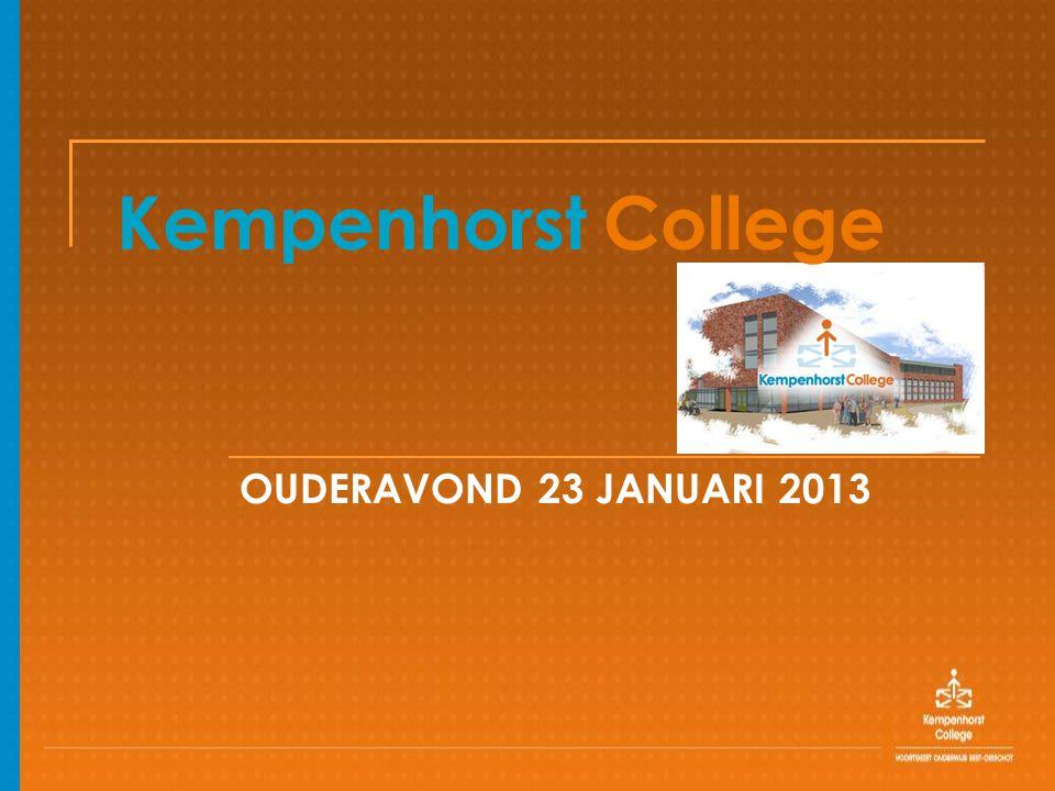 Kempenhorst College OUDERAVOND 23 JANUARI 2013