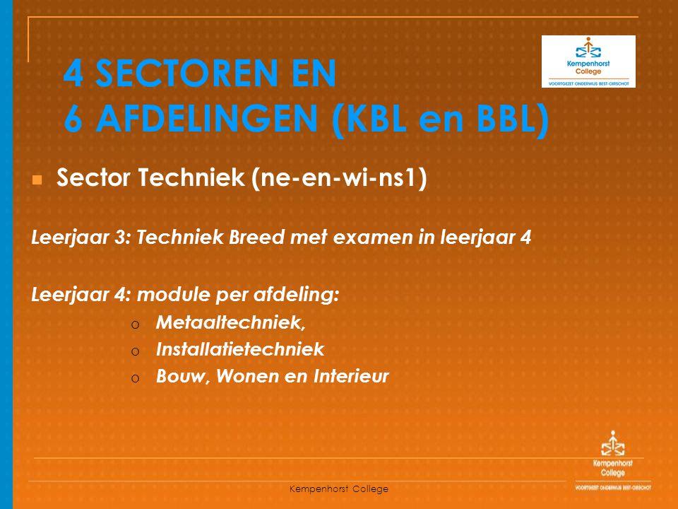 Kempenhorst College 4 SECTOREN EN 6 AFDELINGEN (KBL en BBL) Sector Techniek (ne-en-wi-ns1) Leerjaar 3: Techniek Breed met examen in leerjaar 4 Leerjaa