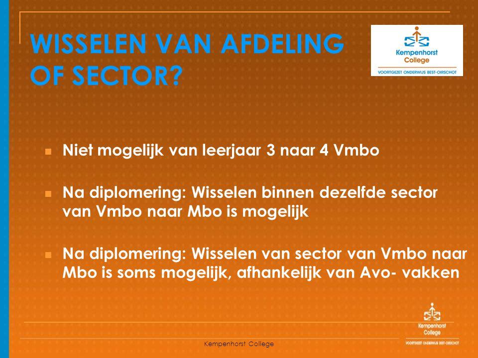 Kempenhorst College WISSELEN VAN AFDELING OF SECTOR? Niet mogelijk van leerjaar 3 naar 4 Vmbo Na diplomering: Wisselen binnen dezelfde sector van Vmbo