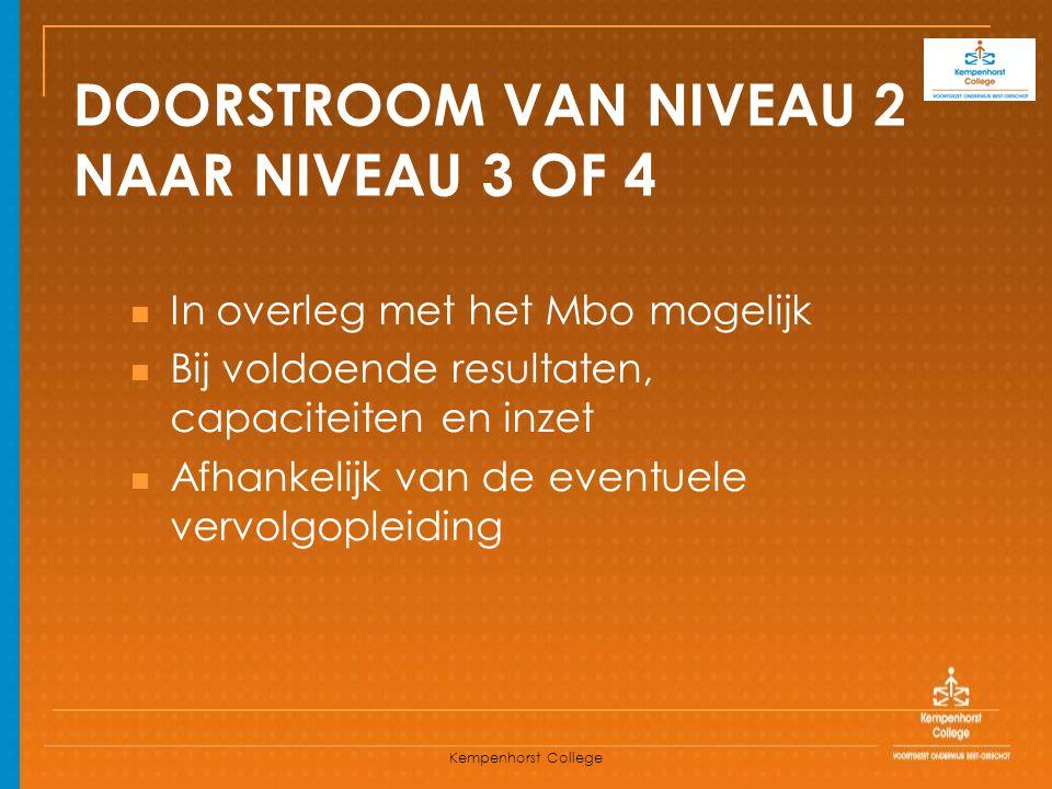 Kempenhorst College DOORSTROOM VAN NIVEAU 2 NAAR NIVEAU 3 OF 4 In overleg met het Mbo mogelijk Bij voldoende resultaten, capaciteiten en inzet Afhanke