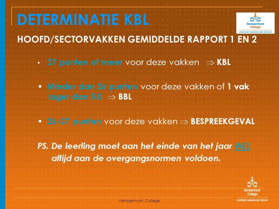 Kempenhorst College DETERMINATIE KBL HOOFD/SECTORVAKKEN GEMIDDELDE RAPPORT 1 EN 2 27 punten of meer voor deze vakken  KBL Minder dan 26 punten voor d