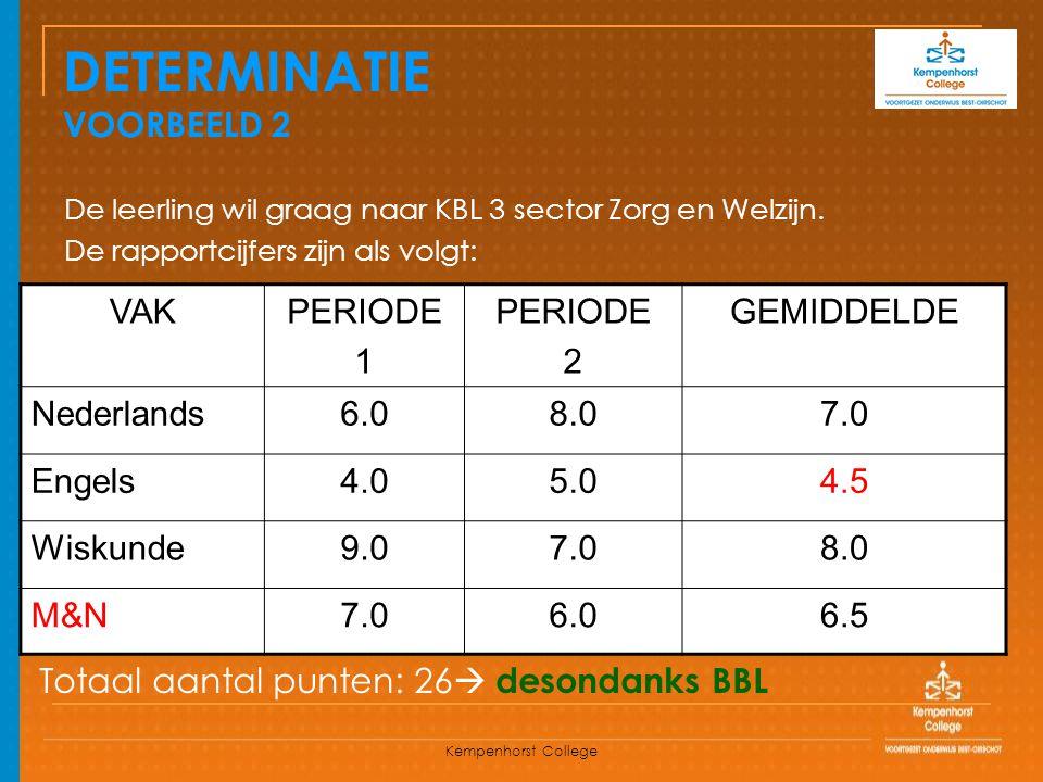 Kempenhorst College DETERMINATIE VOORBEELD 2 De leerling wil graag naar KBL 3 sector Zorg en Welzijn. De rapportcijfers zijn als volgt: VAKPERIODE 1 P