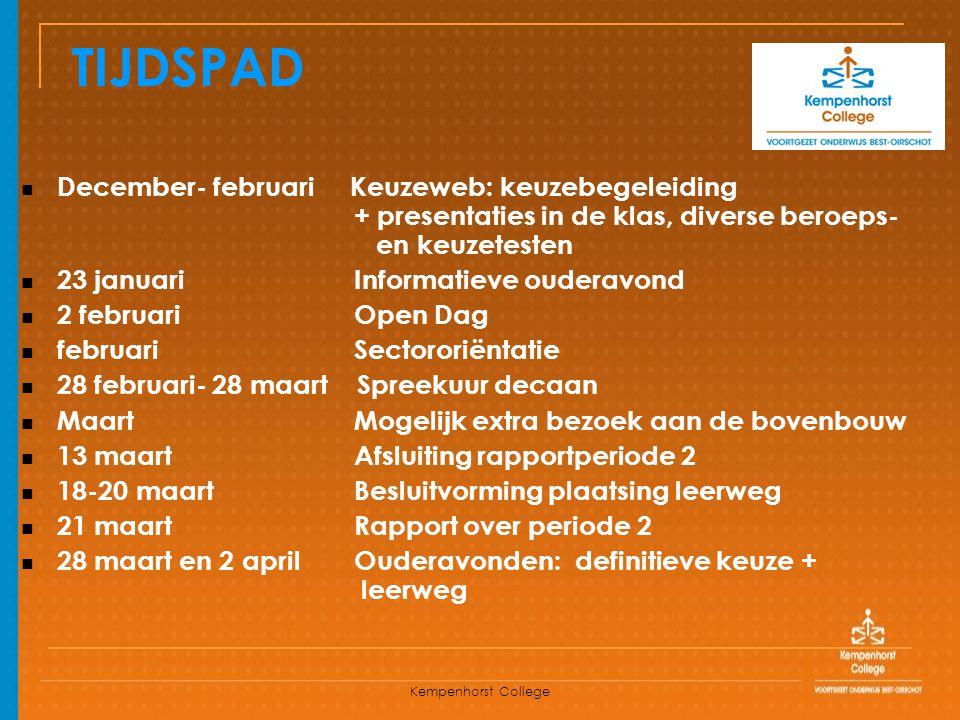 Kempenhorst College TIJDSPAD December- februari Keuzeweb: keuzebegeleiding + presentaties in de klas, diverse beroeps- en keuzetesten 23 januari Infor